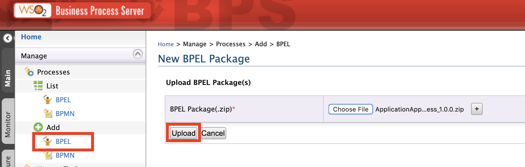 Upload BPEL archive file