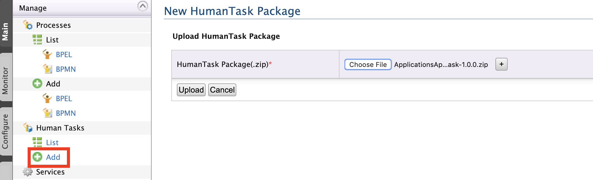 Add human task package