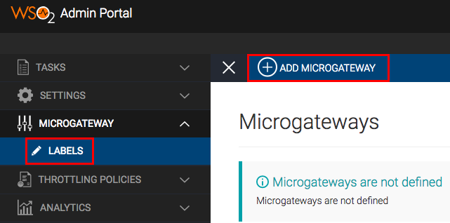 Menu to add Microgateway label