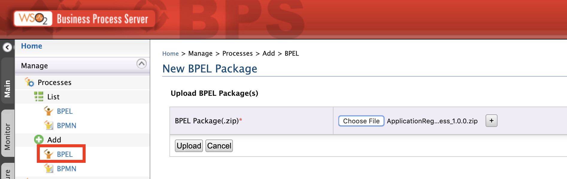 Upload BPEL package