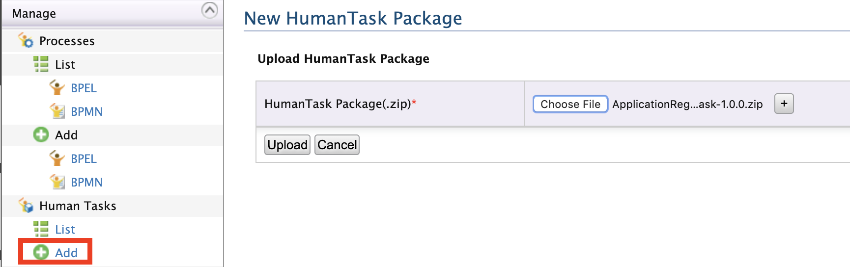 Add the human task archived file