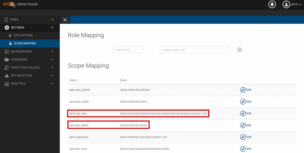 Admin portal scope mapping