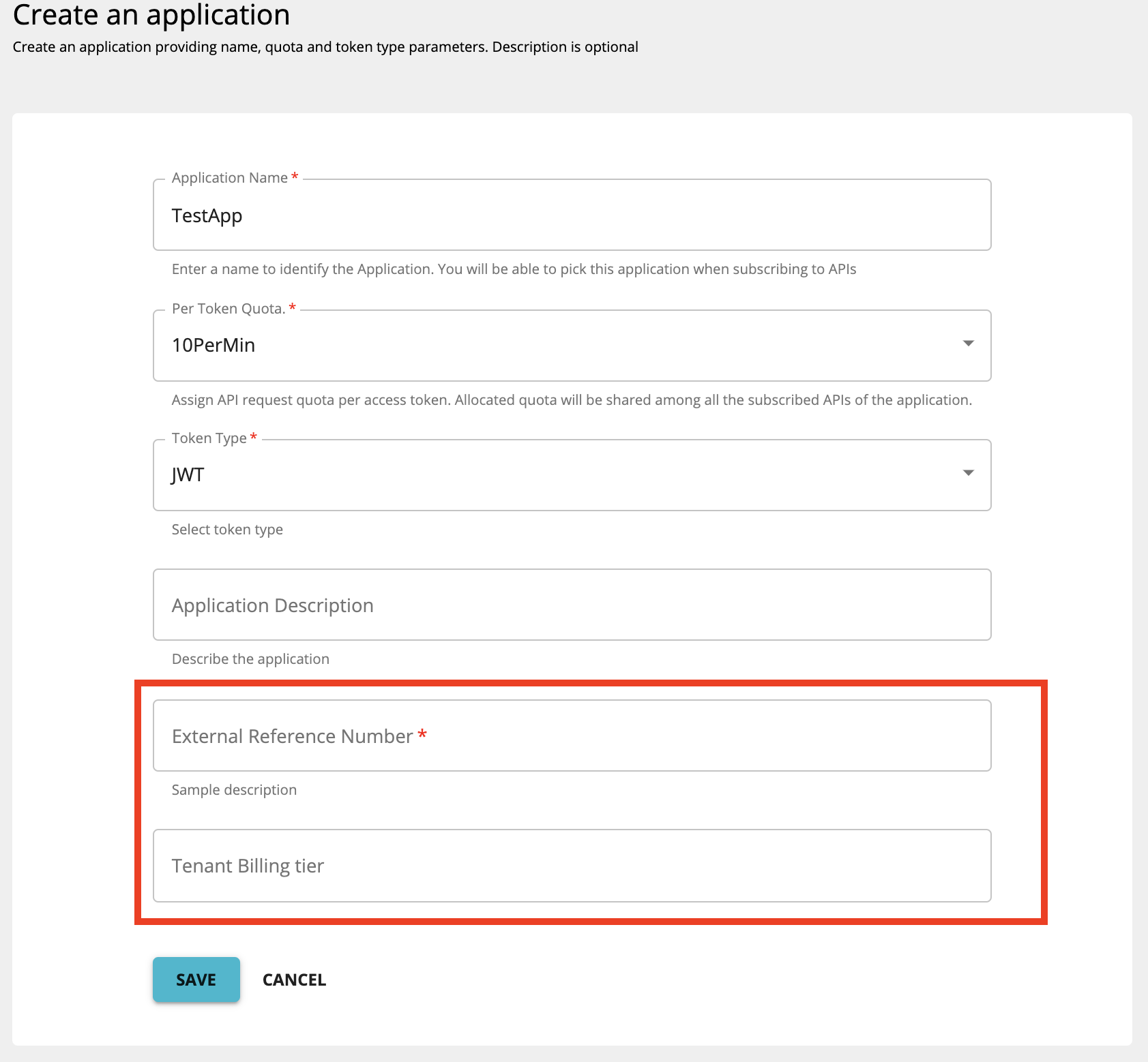 Custom application attributes