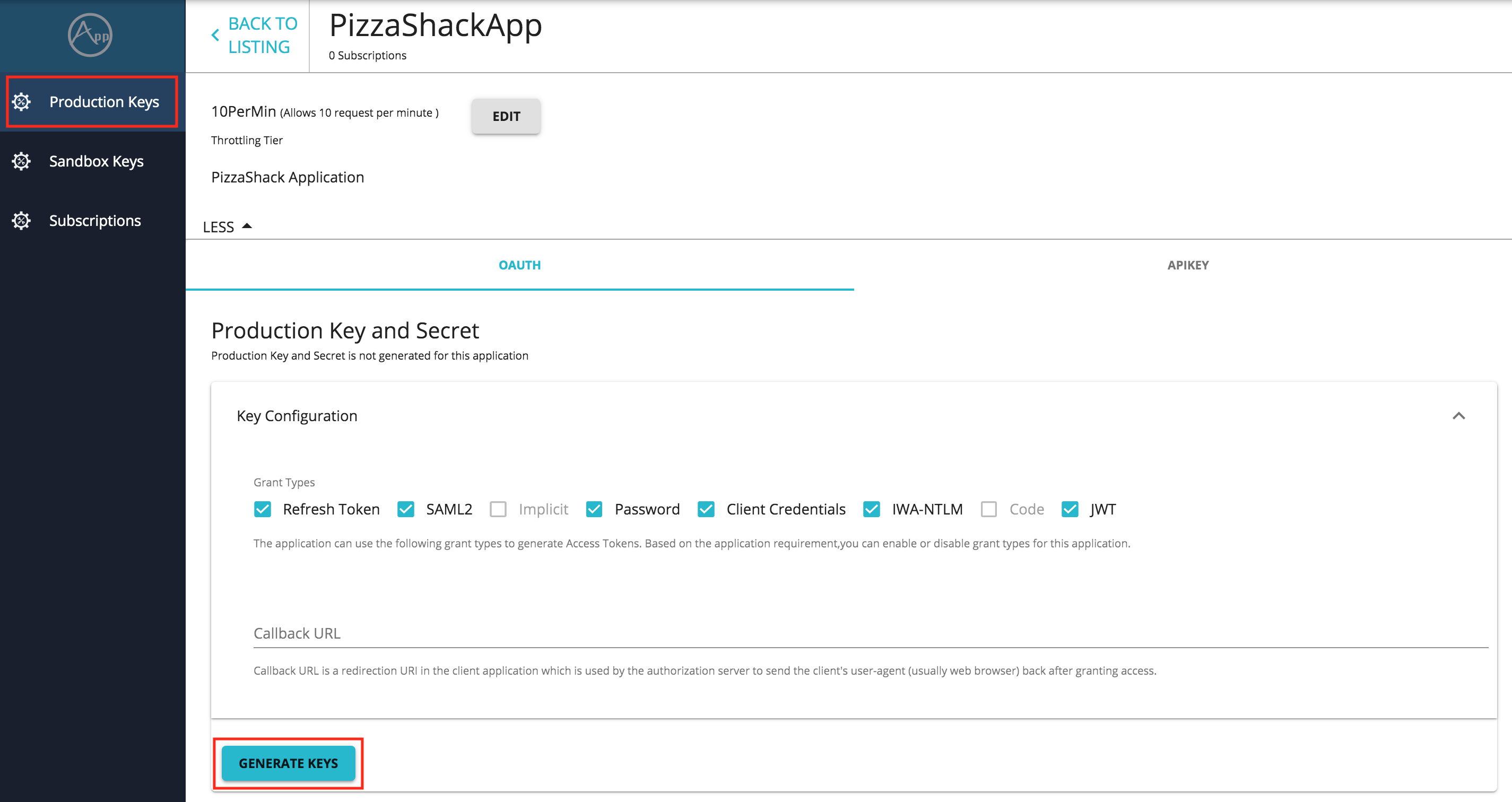 Generate Application Keys