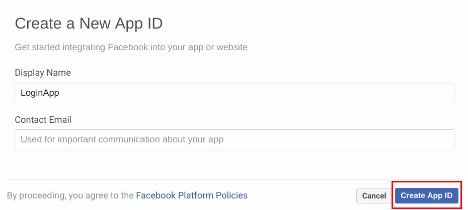 Create new facebook app
