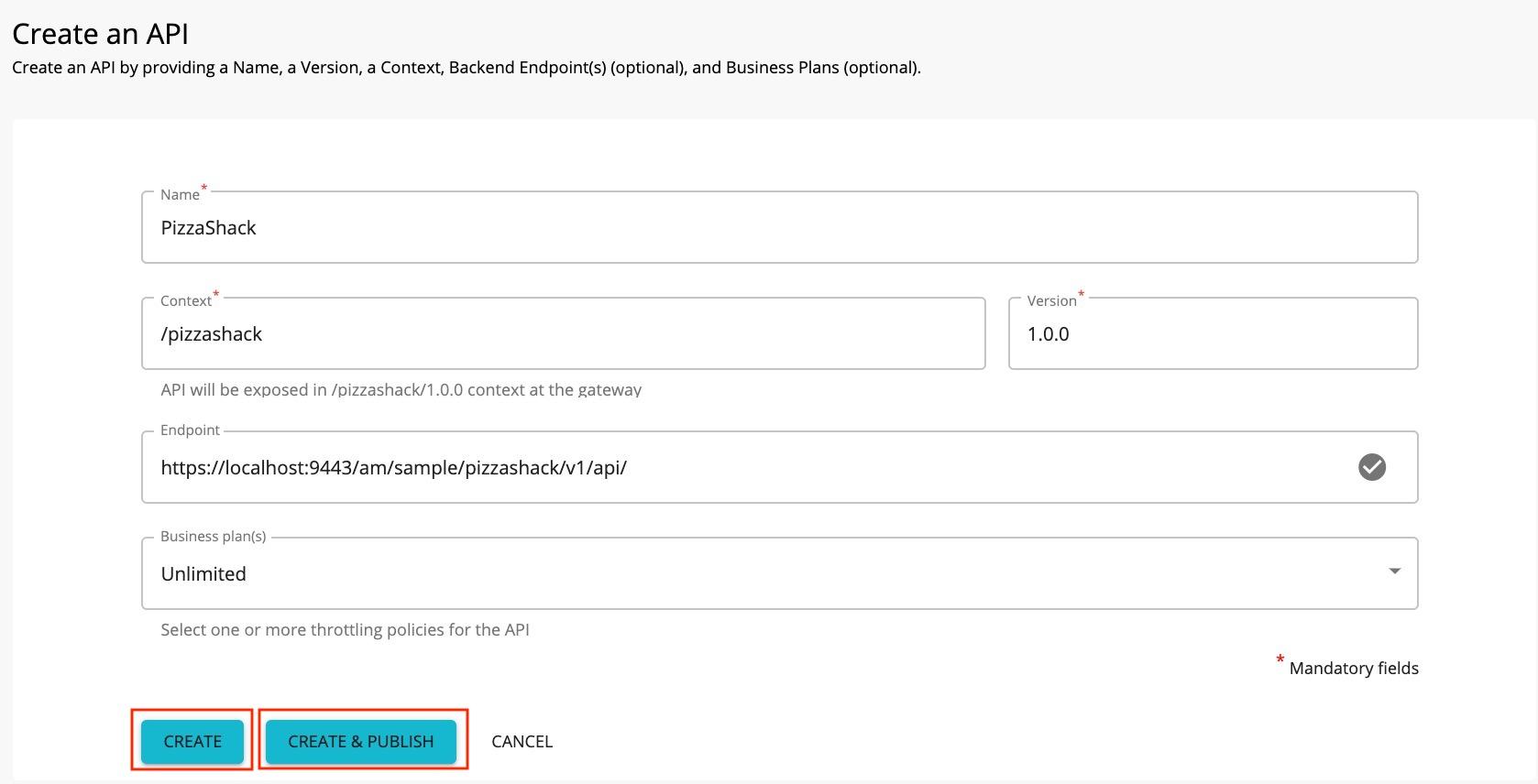 Create an API page