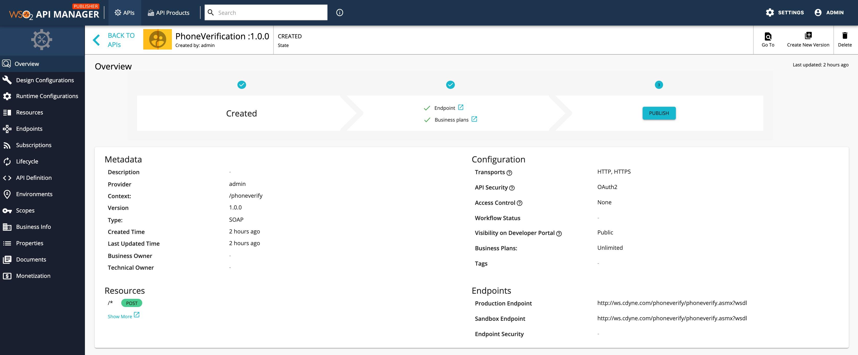 Created SOAP API