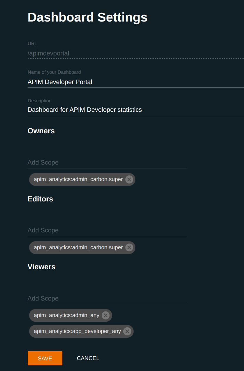 Dashboard settings Developer Portal