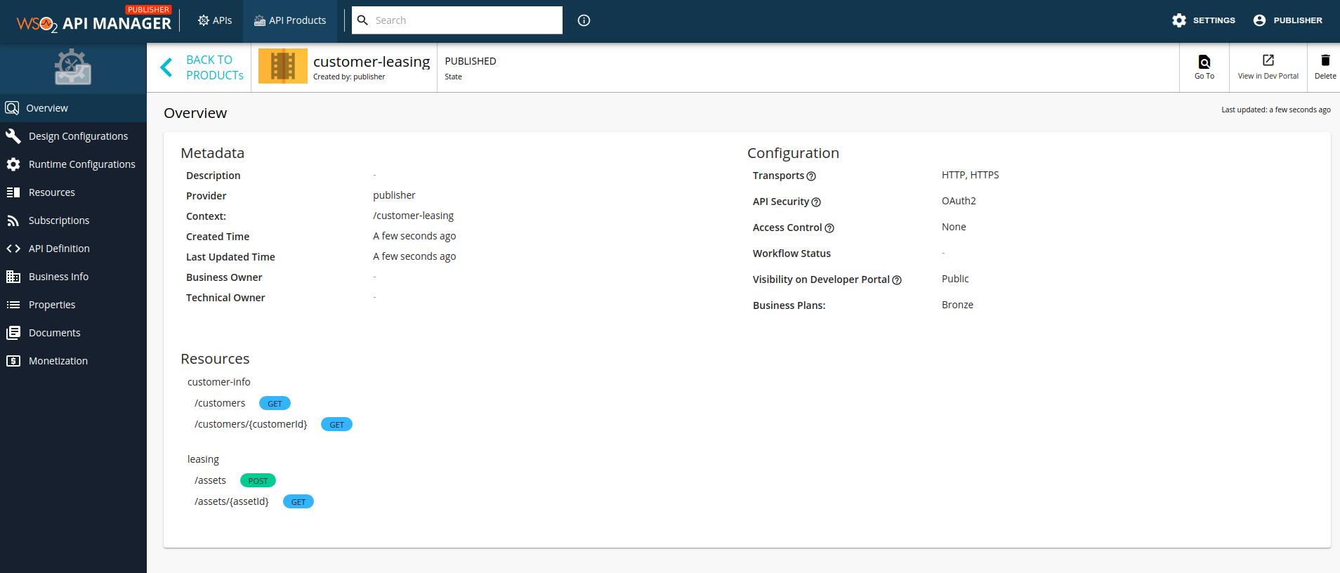 API Product in the API Publisher
