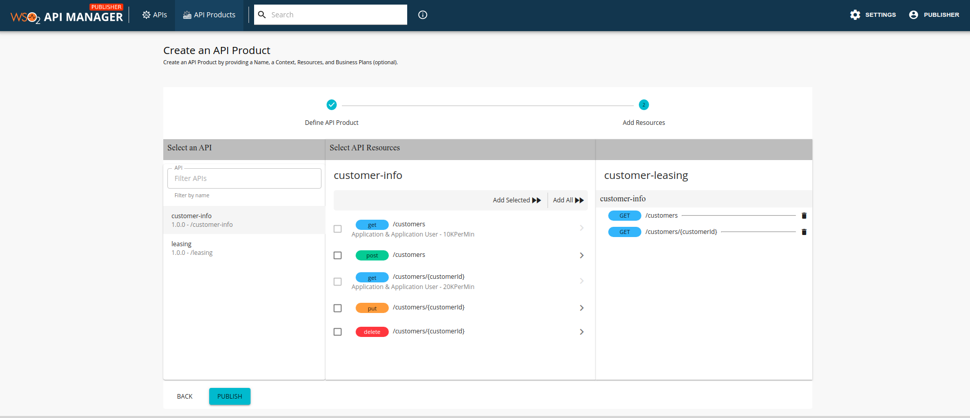 Add resources from the customer-info API