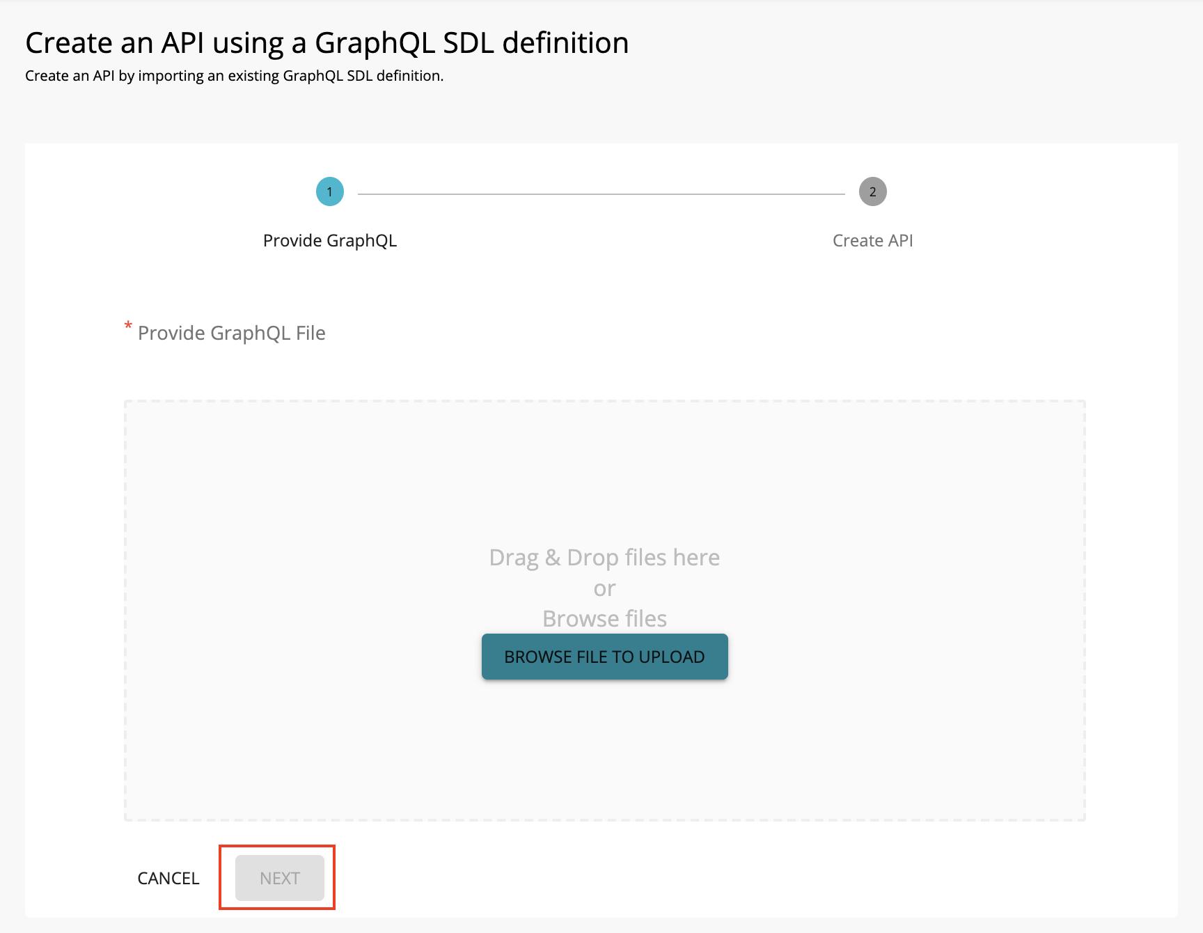 Import a graphQL schema by adding a file