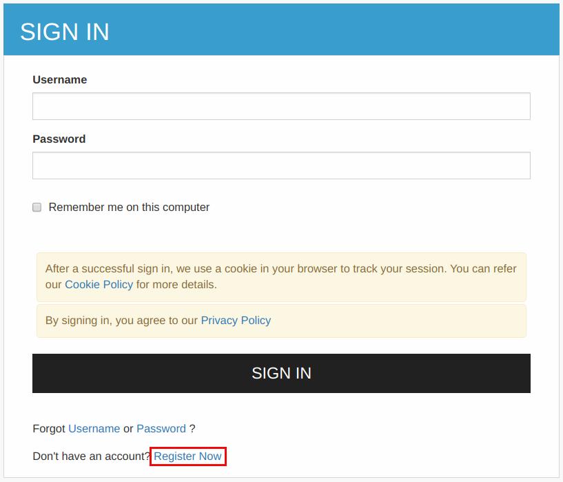 Register now option