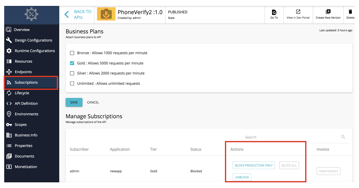 Have the same application for two APIs and block all subscriptions