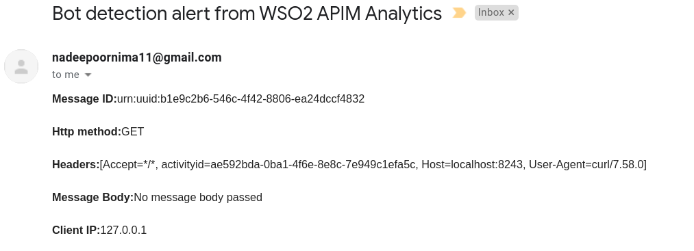 Sample email notification for unauthorized API call
