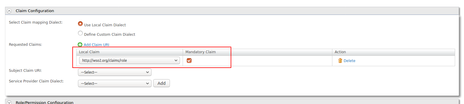 Claim configuration in Service Provider for SAML2 SSO