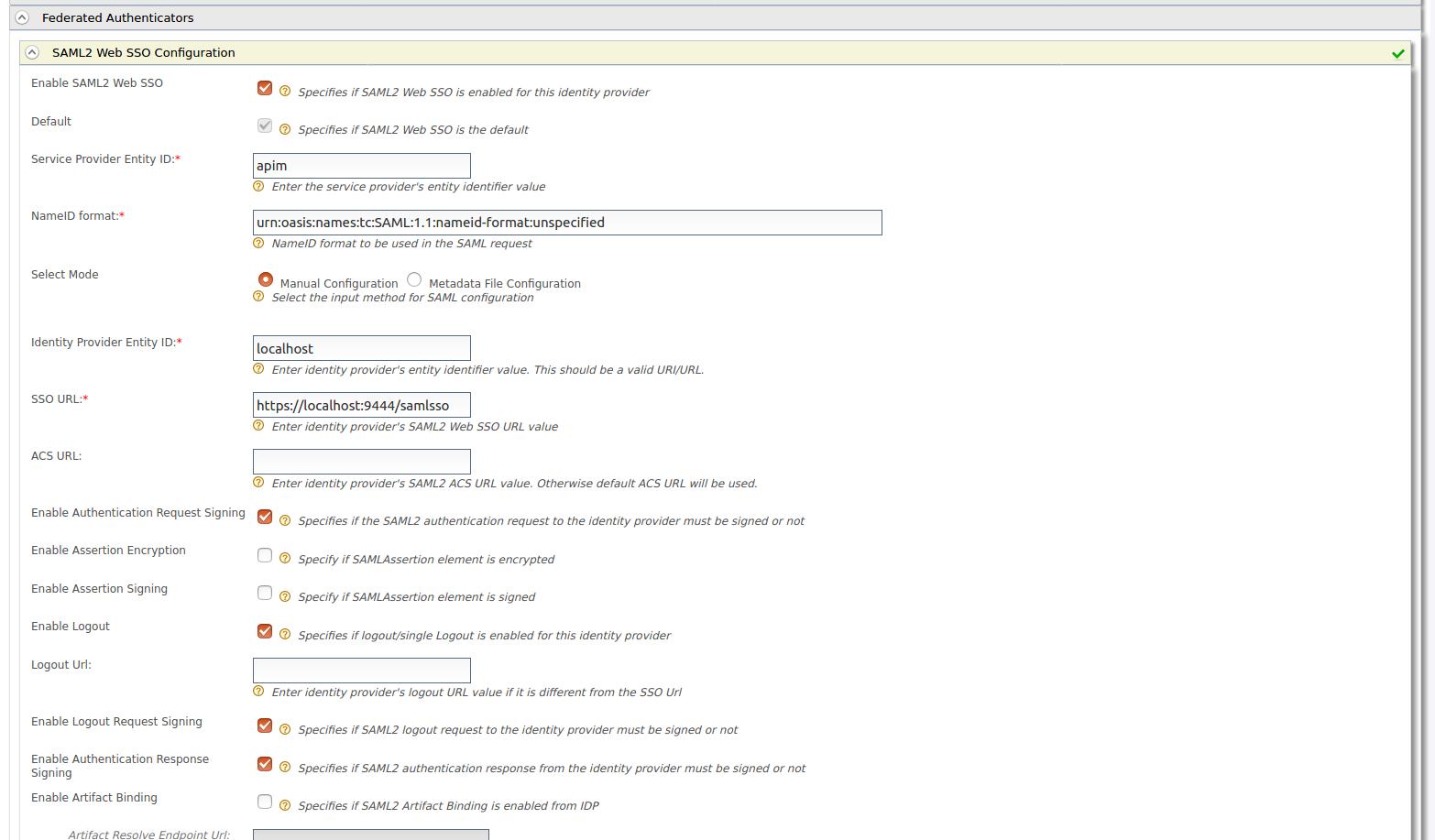 SAML configuration in Identity Provider