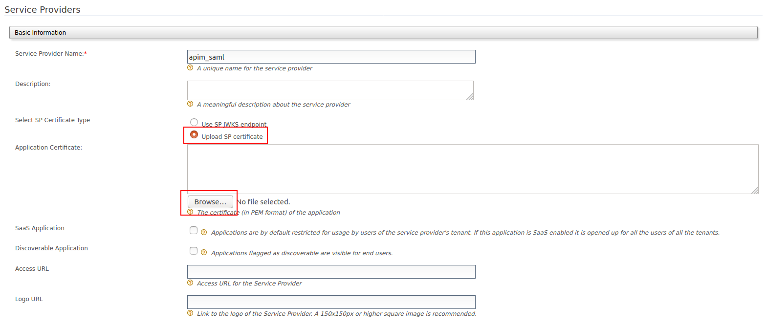 Upload certificate in SP for SAML2 SSO