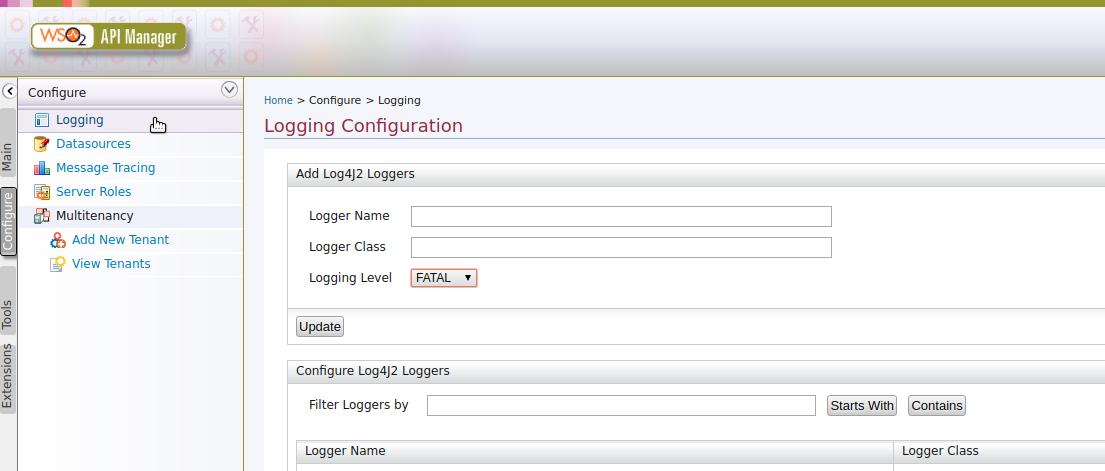 Logger Carbon UI