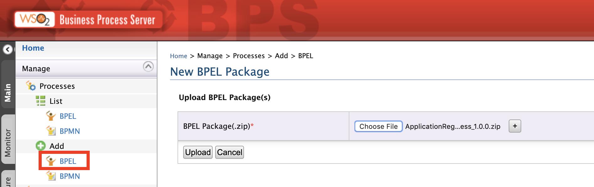 Upload BPEL package