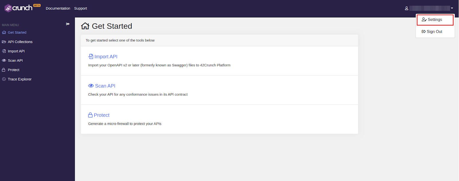 API token settings menu