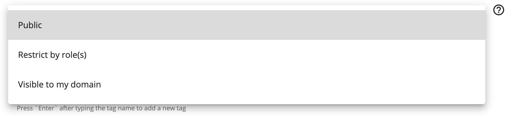 API visibility Developer Portal dropdown