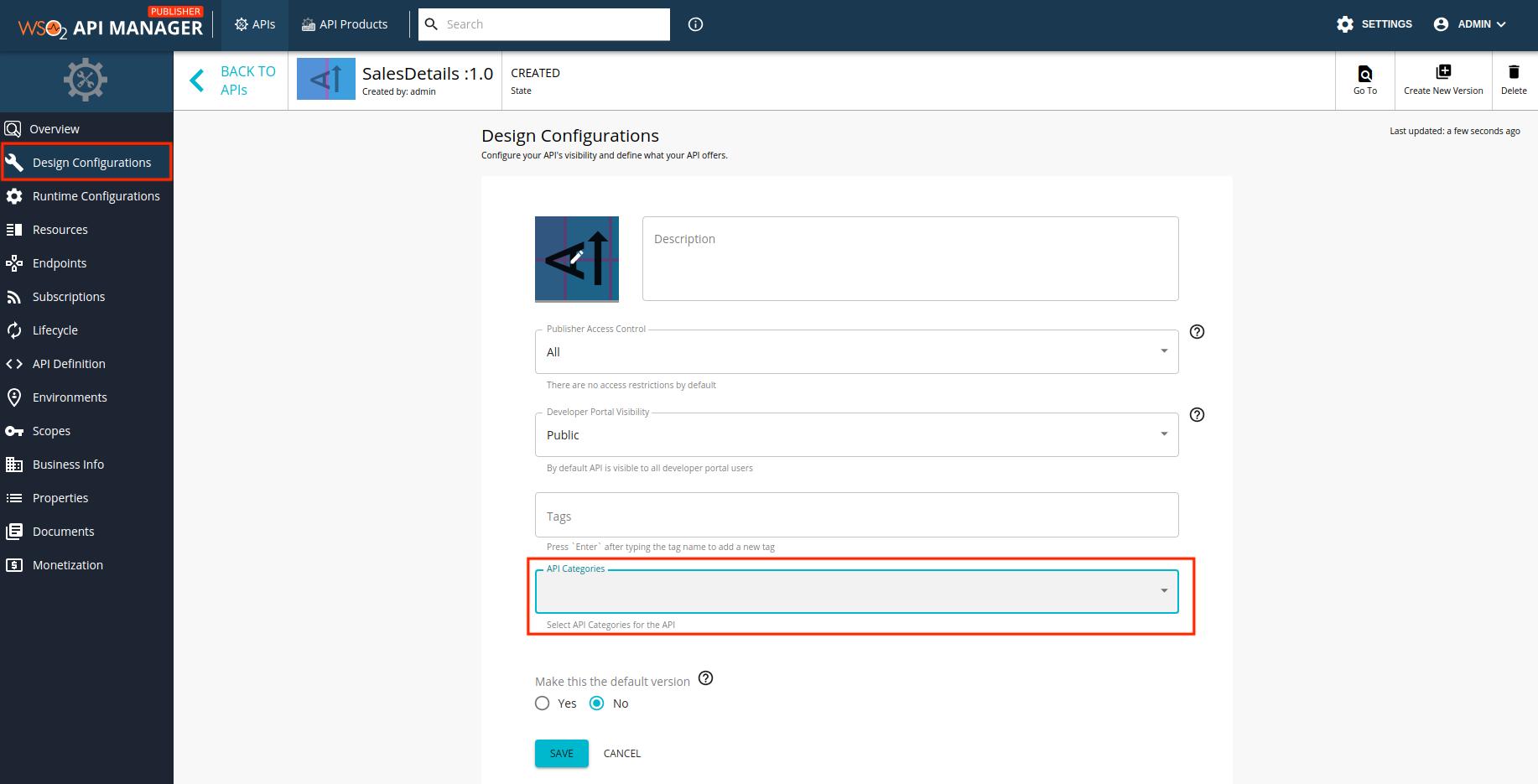 API categories option