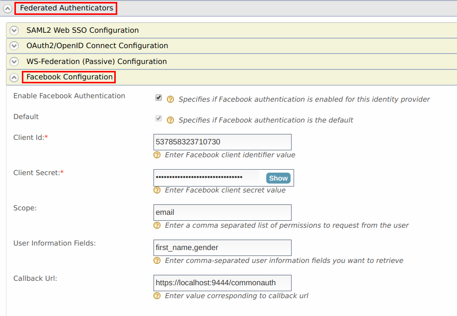 Configure a Federated Authenticator for Facebook Login
