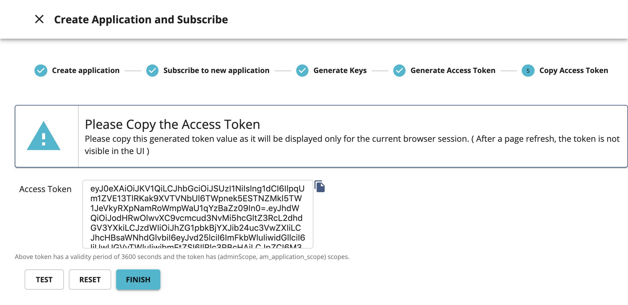 Copy the authorization token