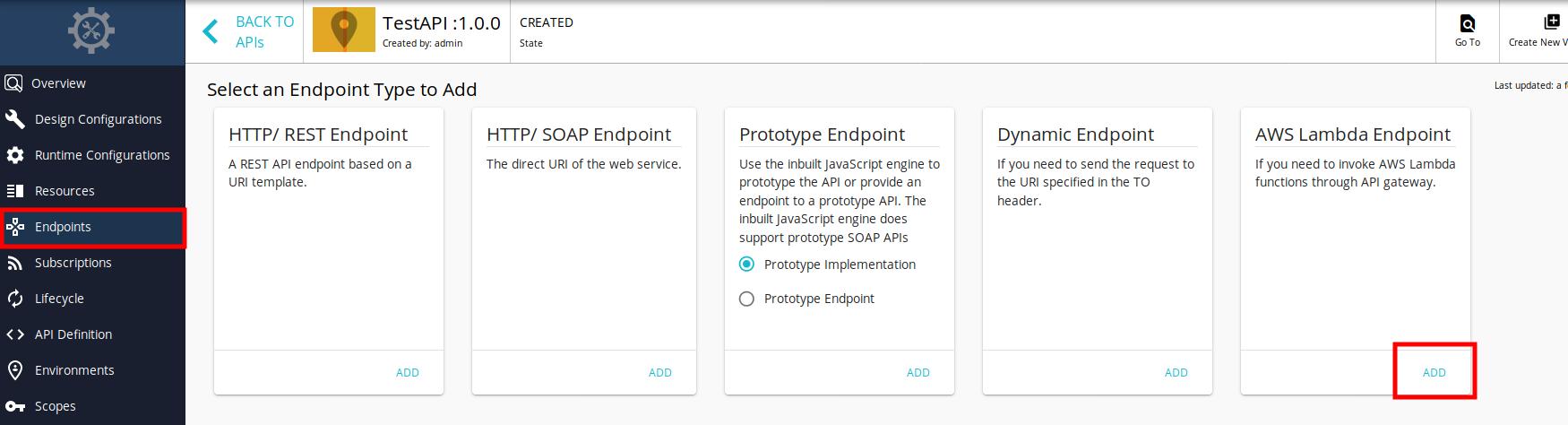 Select AWS Lambda endpoint