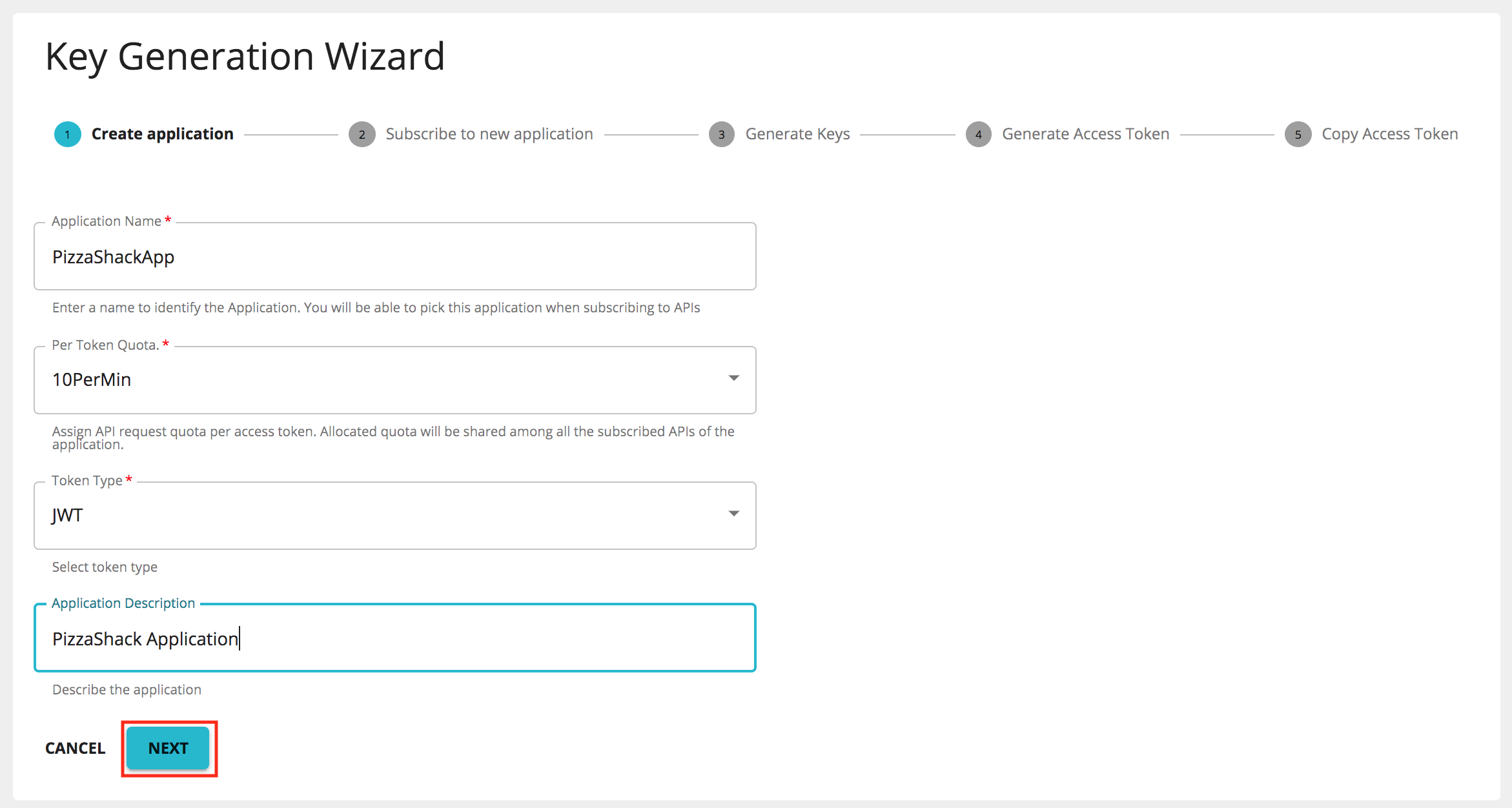 Create application process in the wizard