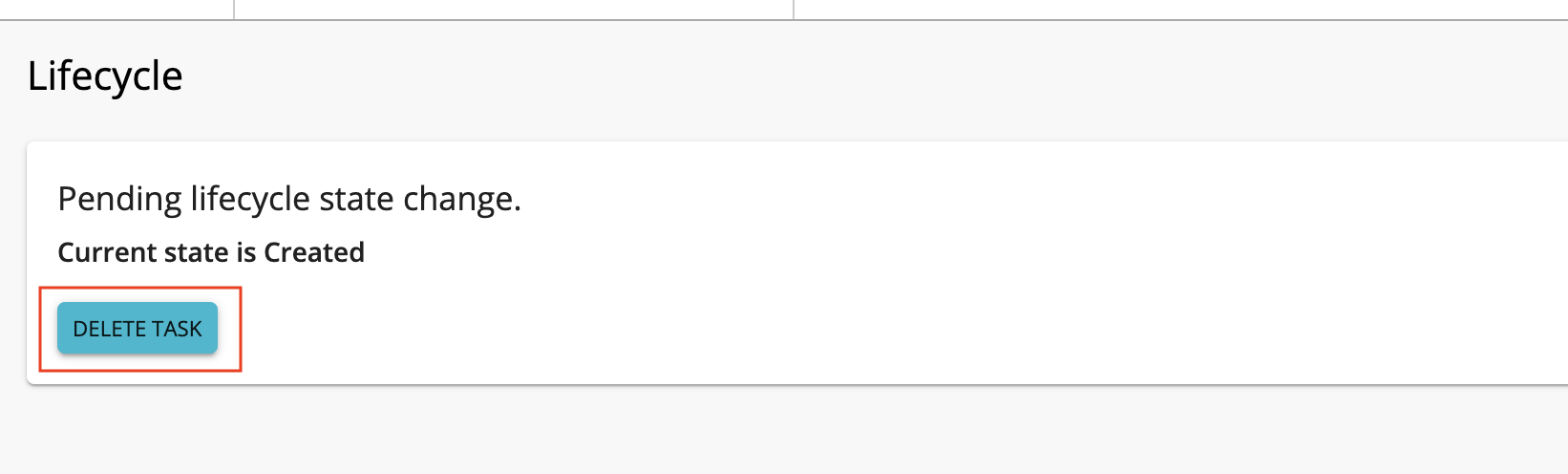 Delete task button