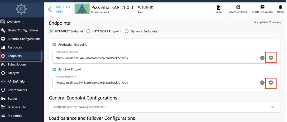 Link to advanced endpoint configurations