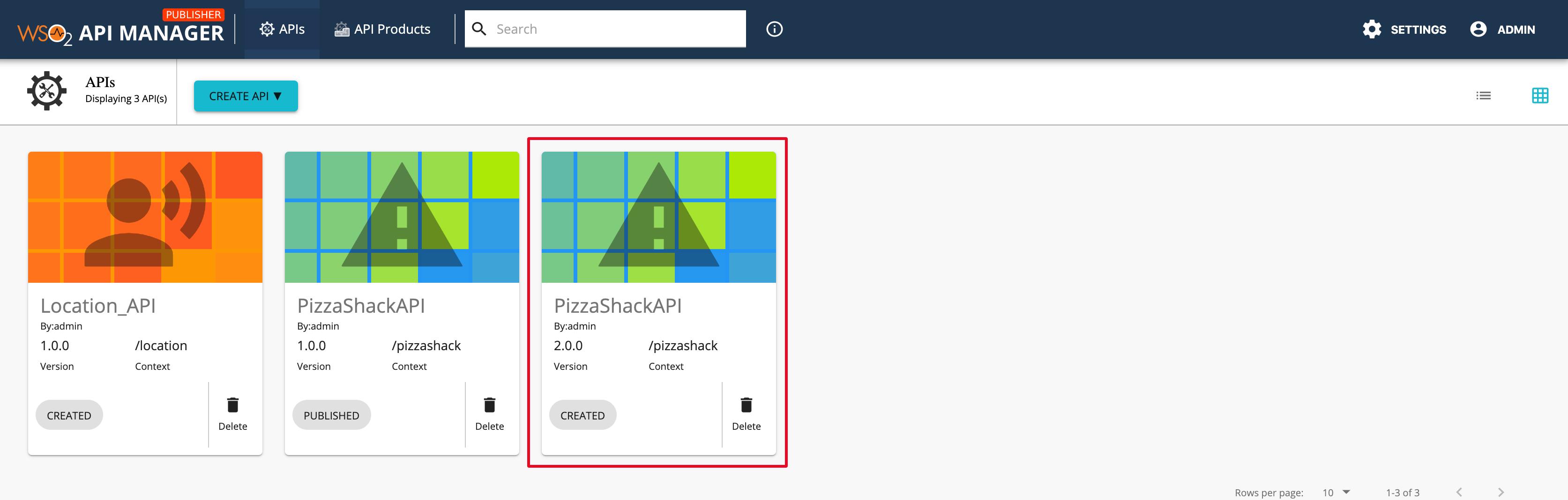 PizzaShack API in the Publisher
