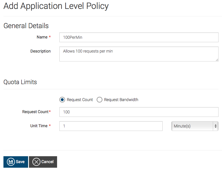 Save application policy