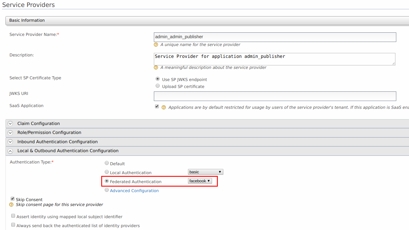 Set Facebook Auth for Service Providers