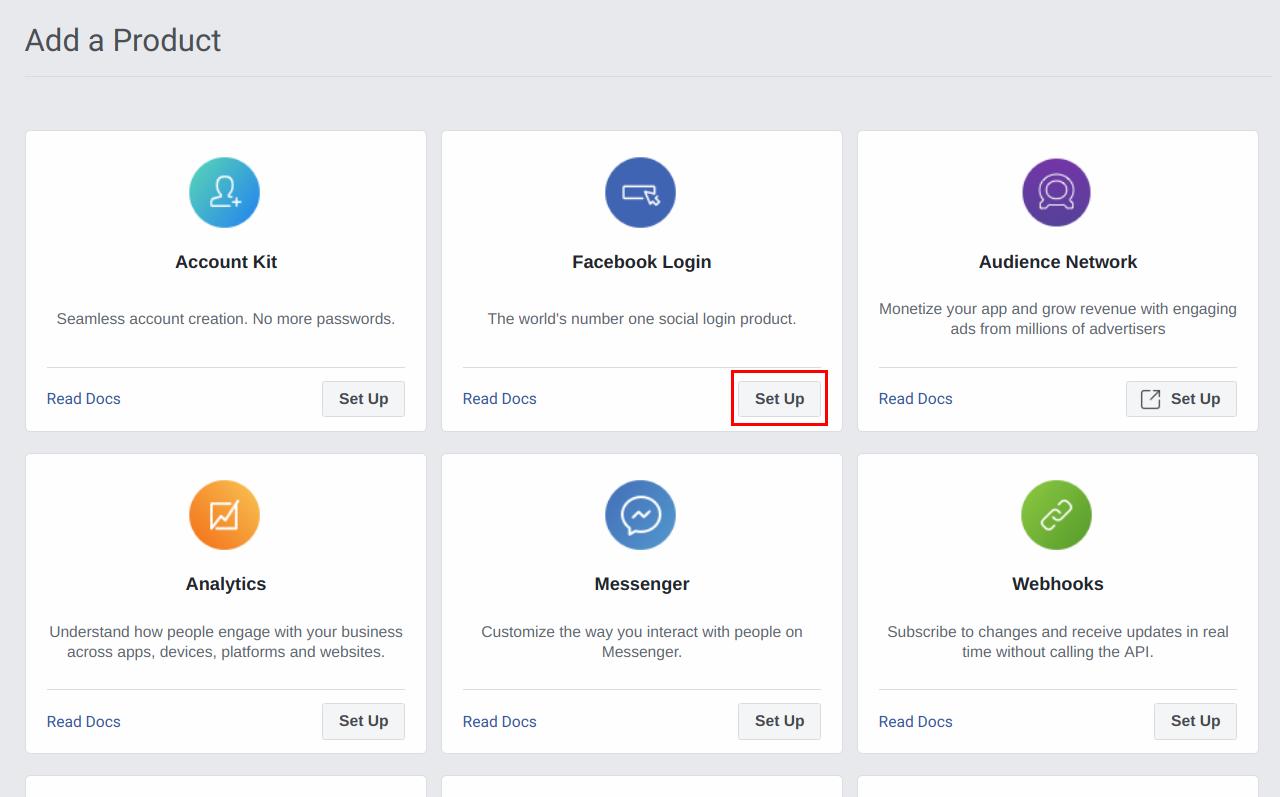 Setup facebook login product