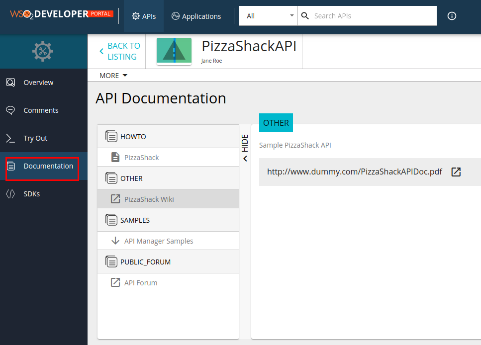 View API related documentation