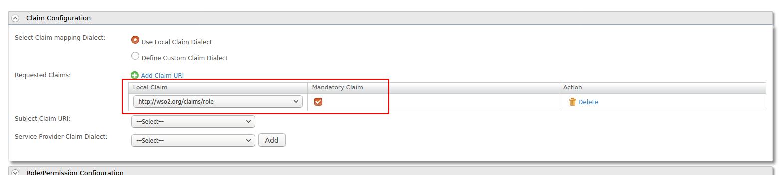 Claim configuration in service provider for SAML2 SSO