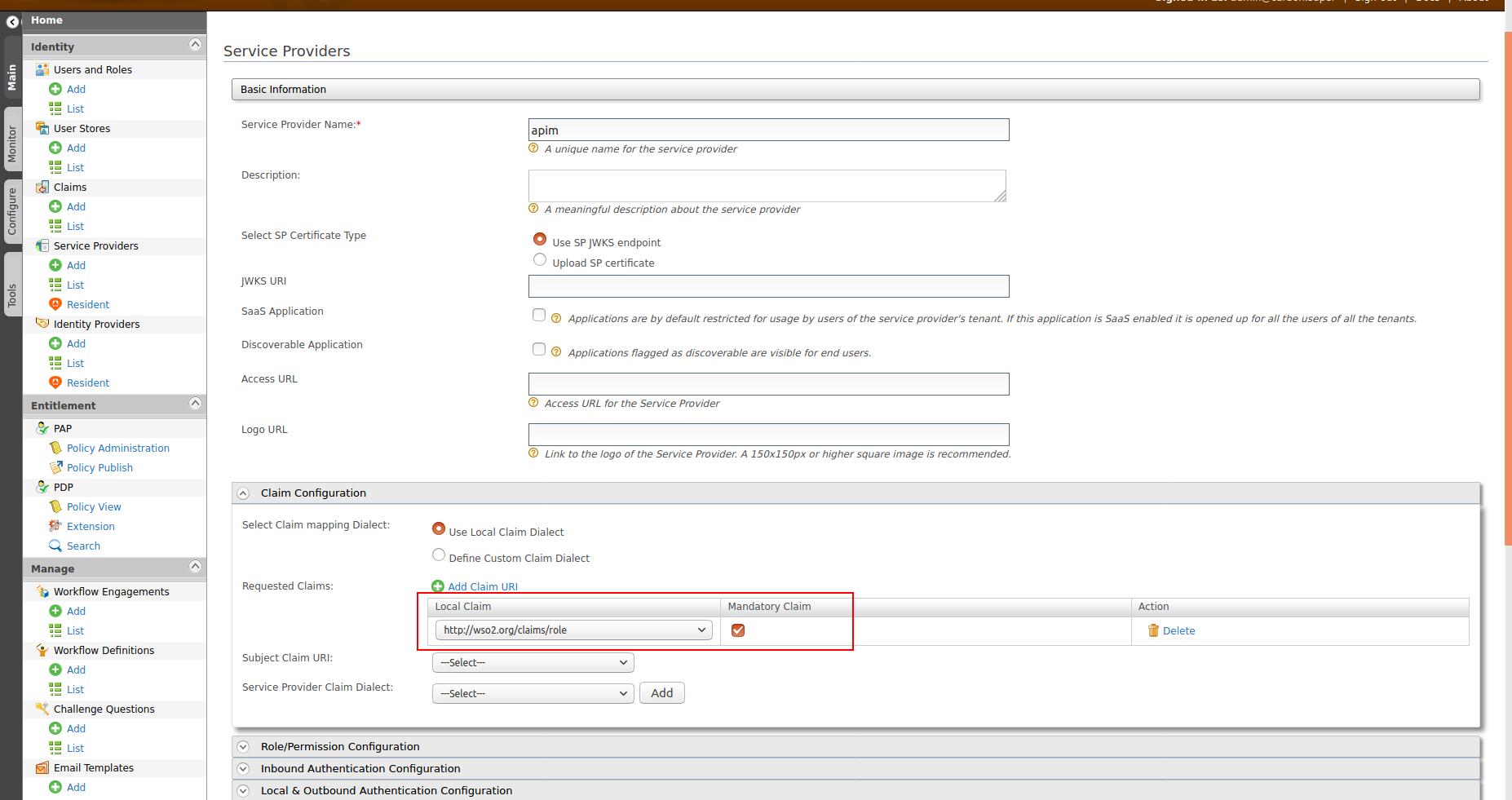 Claim Configuration in Service Provider