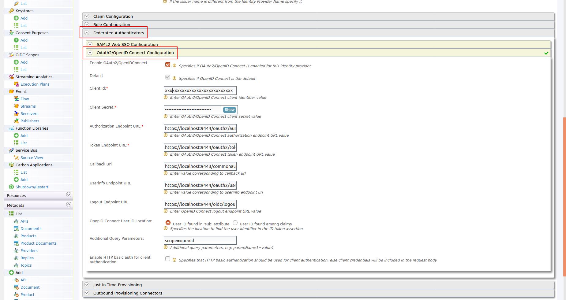 Identity Provider Configuration for SSO