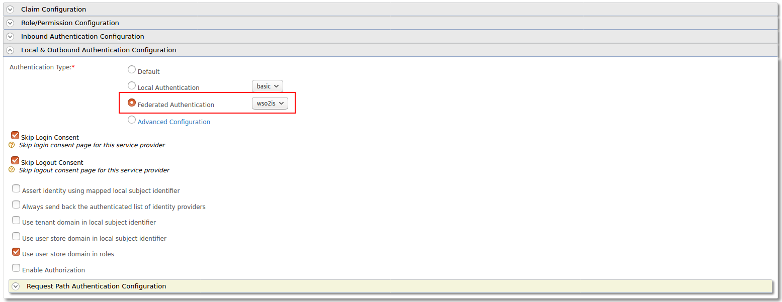 Local and outbound authentication configuration for SSO