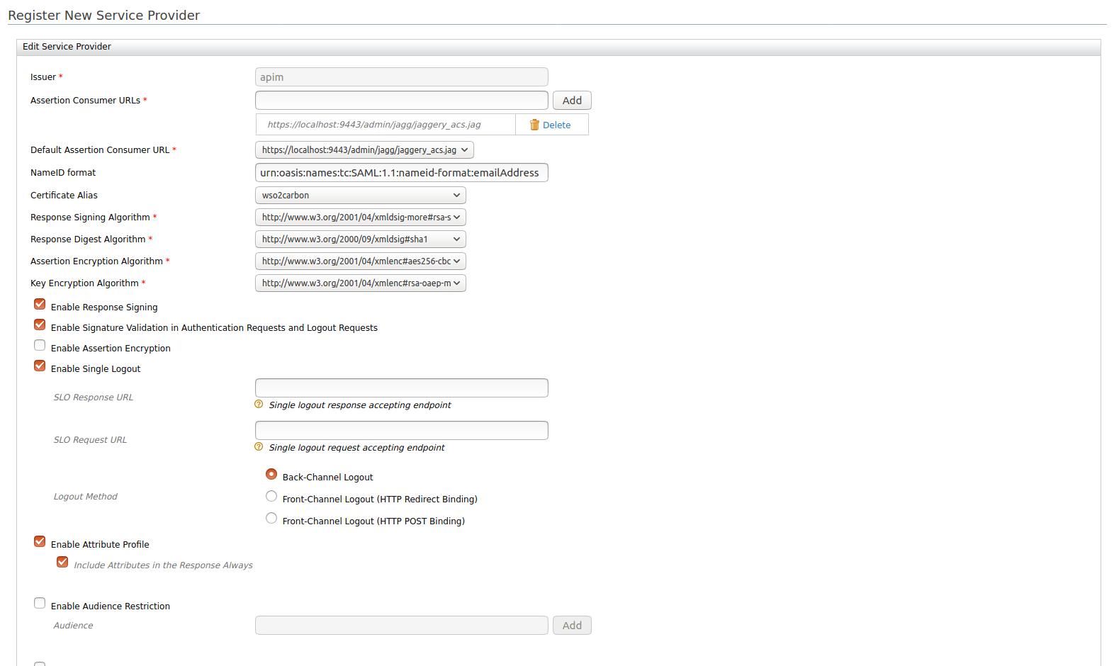 SAML configuration in service provider