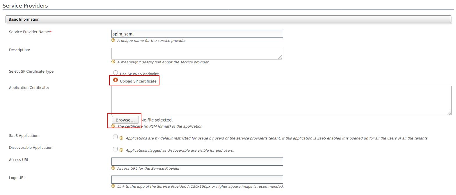 Upload certificate in SP for SAML2 SSO
