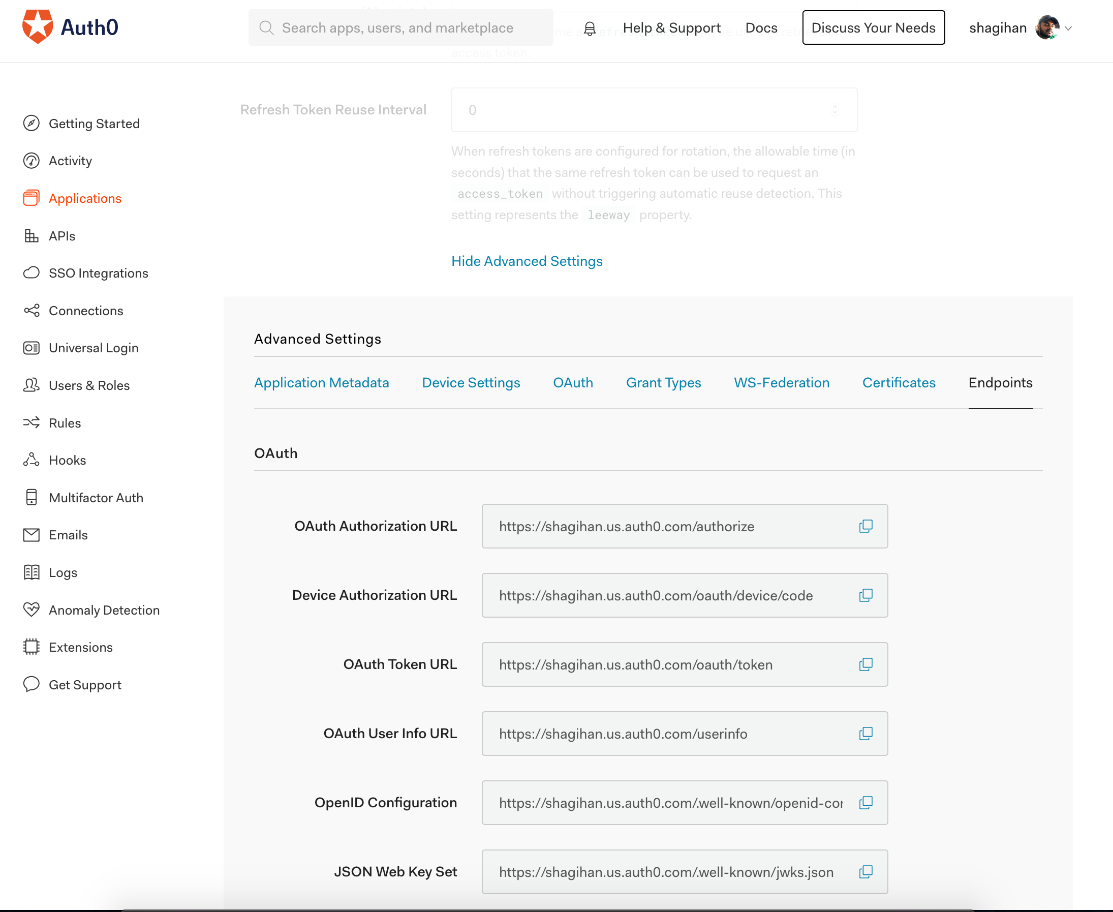 auth0 endpoints