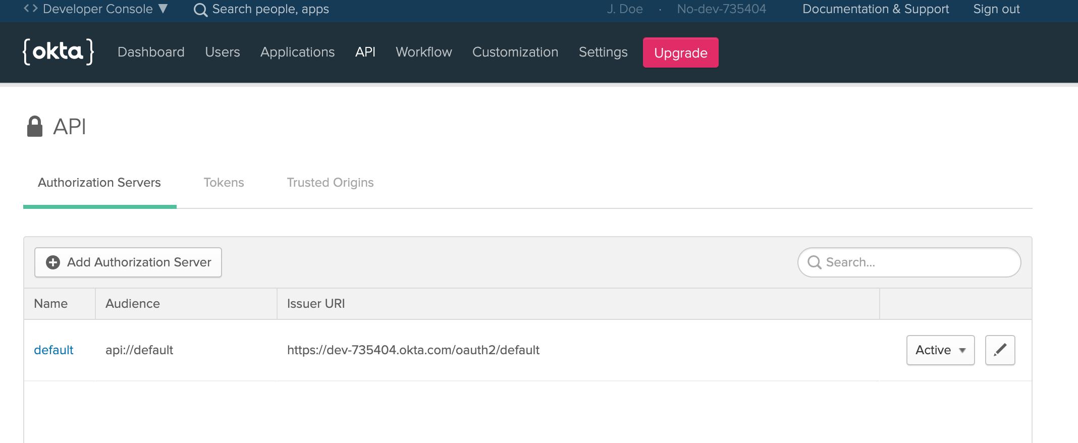 Okta authorization server