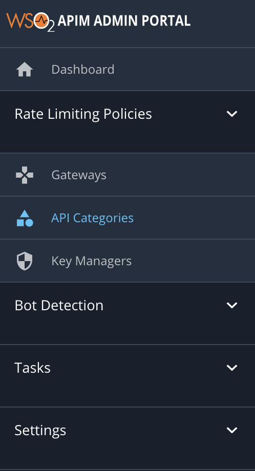 API categories menu