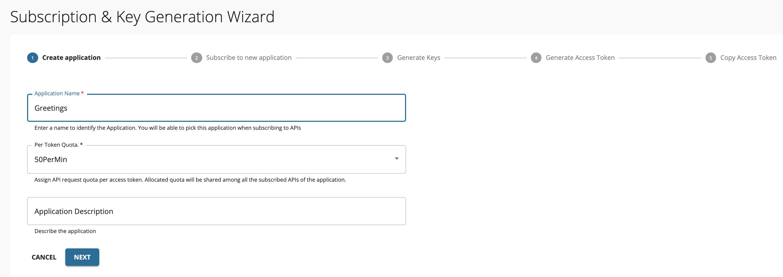 Wizard - Create application