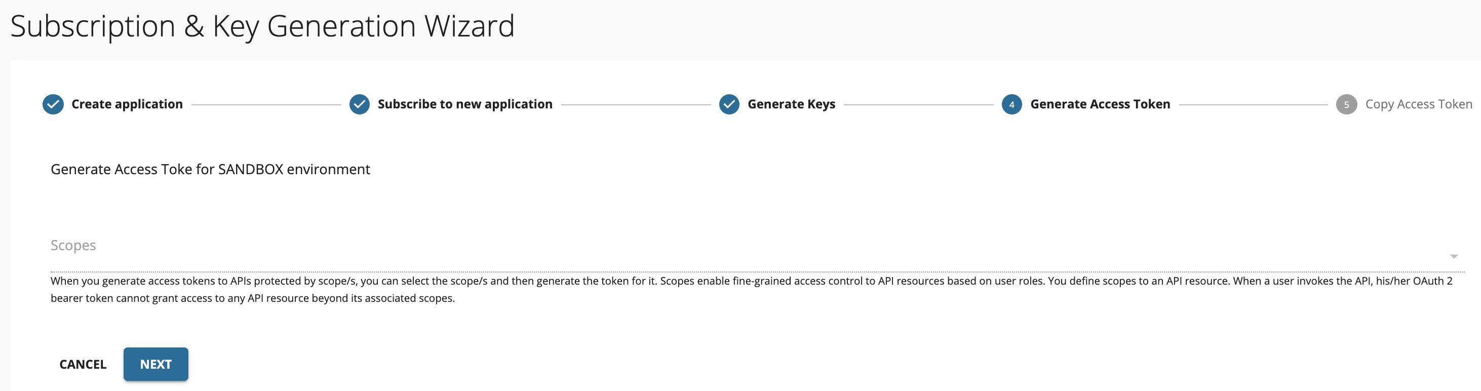 Wizard - Generate Access Token