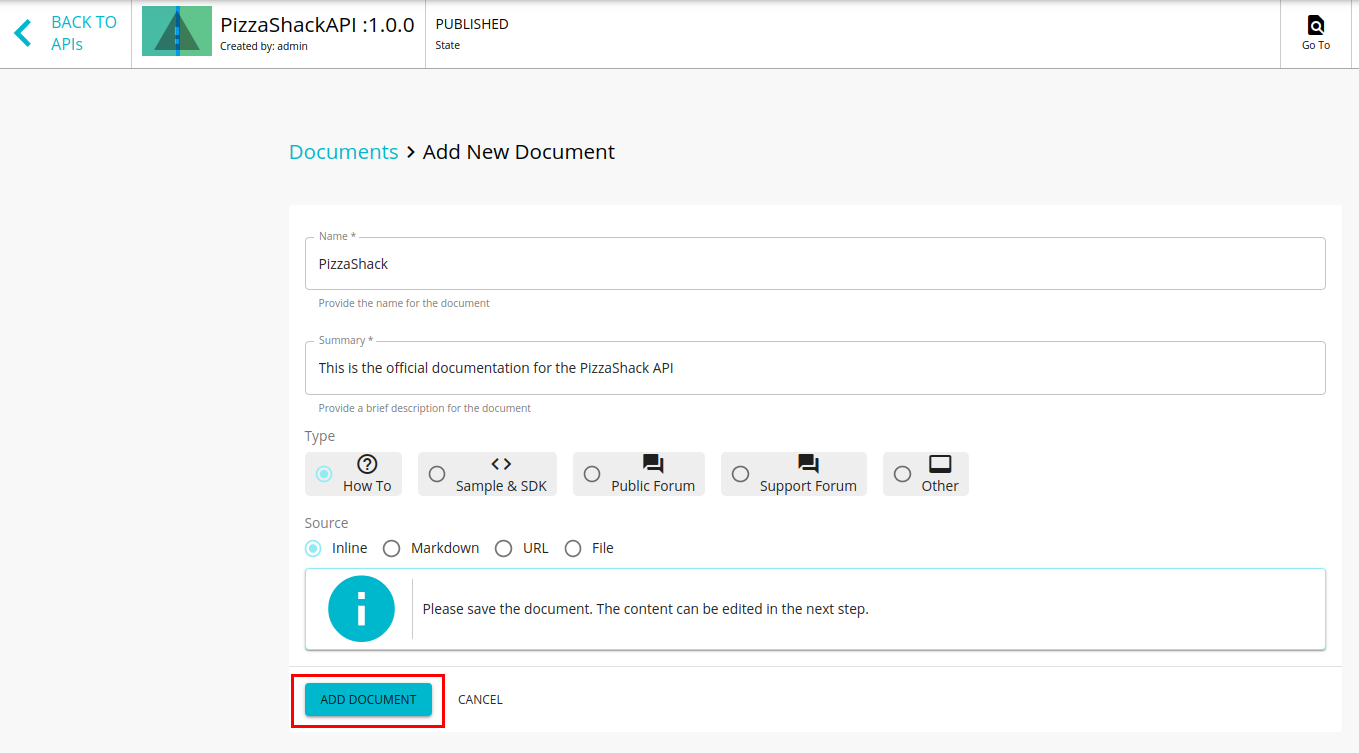 Create an inline document