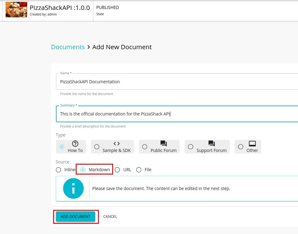 Add Markdown based API documentation